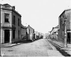 Little Lonsdale St,Melbourne in Victoria in 1875,looking west from Spring St.
