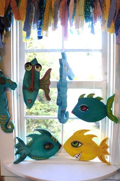 Hand Painted Wooden Fish...Fun Nautical by funartkennebunkmaine