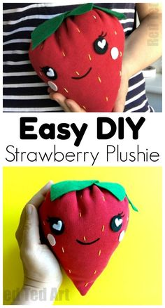 How to Sew a Strawberry Plushie - This is a super easy and cute Strawberry Plushie for kids to sew. We repurposed an old sweater to make this easy how to sew a strawberry plushie DIY