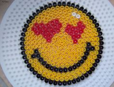 Smiley hearts hama beads by Les loisirs de Pat