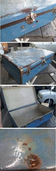 Trunk アメリカアンティークレトロトランク送料無料水色 インテリア 雑貨 家具 Antique ¥5000yen 〆06月21日