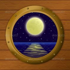 Window with Moon and Sea  #GraphicRiver         Night sea landscape, star sky and moon in a bronze ship window – porthole in a wooden wall   Vector EPS 8 plus AI CS 5 plus high-quality Jpeg. Editable vector file, containing only vector shapes. Contains gradients. No transparencies.     Created: 17October13 GraphicsFilesIncluded: JPGImage #VectorEPS #AIIllustrator Layered: No MinimumAdobeCSVersion: CS5 Tags: background #blue #clear #horizon #illustration #landscape #lunar #marine #midnight…