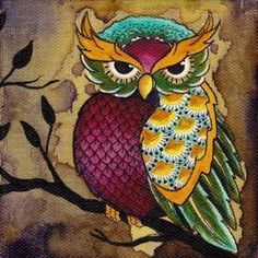 Colorful owl on tree branch by Brittany Morgan Tattoo Artwork Giclee Canvas Art Print