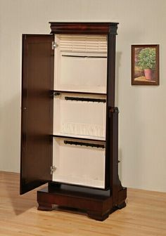 """Mattie cherry finish wood jewelry armoire free standing cheval mirror cabinet. This set features a cherry finish wood with a Mirror on the front and an opening cabinet door to expose the jewelry storage behind the mirror. measures 24"""" x 18"""" x 60"""" H. Some assembly required. SKU ACM97002"""