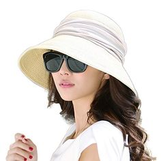 b61d6949 From Siggi Womens Foldable Straw Cloche Panama Floppy Summer Beach Sun Hat  Wide Brim Beige
