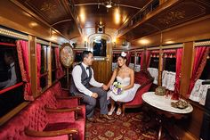 This couple traveled on the Disneyland Railroad to their incredible vow renewal