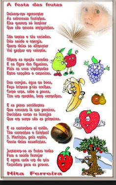 Nita Ferreira Poesia Infantil: A festa das frutas Games For Kids, Activities For Kids, Crafts For Kids, Fairy Tales For Kids, Writing Activities, Professor, Facebook, Toddler Nutrition, Kid Activities