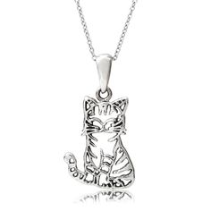 Add style to your wardrobe with this necklace by Journee Collection. This necklace is crafted of sterling silver and fashioned into an adorable detailed cat pendant with an 18 inch cable chain to crea