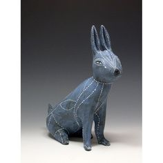 Blue Ceramic Rabbit Sculpture by jennymendes on Etsy, $450.00