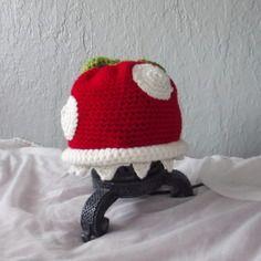 Bonnet plante carnivore mario crocheté mains en laine