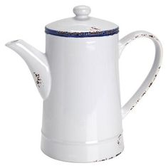 You can fit a whole litre of good-morning coffee in this old-fashioned style coffee pot. With a lid. The SAINT MICHEL range: in days gone by, enamel crockery could be found in any country house. This characteristic look is still popular today. Butlers' SAINT MICHEL range gained inspiration from the traditional shapes and the white and blue colour combination. All items look like they have been used for years and feature marks of wear and tear.