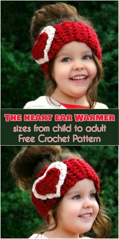 The Heart Ear Warmer - sizes from Child to Adult [Free Crochet Pattern] Follow us for more free crocheting patterns!