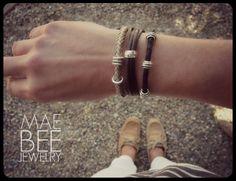 Stackable Silver & Leather Bracelets from JewelryByMaeBee on #Etsy. #sfetsy www.jewelrybymaebee.etsy.com