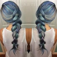 Just look at this beautiful blend of soft blues, greens, and grays. | Denim Hair Is The Latest Hair Color Trend And It's Ridiculously Beautiful