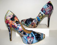 Wonder Woman Comic Book Heels Made to Order Comic Book Shoes, Comic Books, Date Shoes, Graduation Shoes, Wonder Woman Comic, All About Shoes, Pretty Shoes, Geek Chic, Crazy Shoes