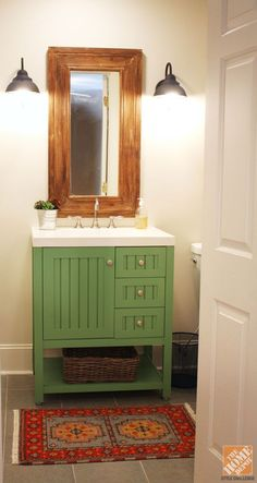 A Bathroom Remodel: painted Martha Stewart  [from Home Depot] vanity.