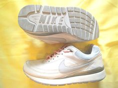 Niki White Silver & Pink Tennis Shoe Size 7 Padded Great Sole only $29.99