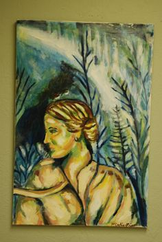 Woman with Aurora an acrylic painting by Karin teresa fain copyright 2005. ALL RIGHTS RESERVED
