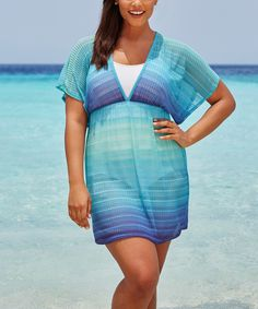 Another great find on #zulily! swimsuitsforall Ultramarine Sheer Empire Cover-Up Tunic - Plus Too by swimsuitsforall #zulilyfinds
