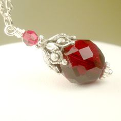 Scarlet Red Necklace Holly Berry Red Czech Glass by pink80sgirl, $34.00