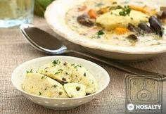 Citromos-zöldborsos túrógaluska (cottage cheese dumplings w/ lemon & dill) Izu, Cottage Cheese, Dumplings, Cheeseburger Chowder, Lemon, Food, Essen, Meals, Yemek