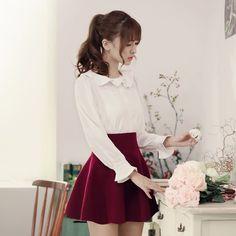 Flounced collar long-sleeved shirt - AddOneClothing - 9 Shirt Skirt, Korean Model, Japan Fashion, Girly Things, Cute Dresses, Korean Fashion, Long Sleeve Shirts, High Waisted Skirt, Fashion Dresses