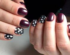 маникюр со звездами, темный бордовый, nail art, nail design
