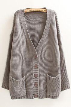 Love Oversized Cardigans! Cozy Grey Oversized Two-Pocket V-neck Long Sleeve Loose Cardigan Sweater #Cozy #Grey #Oversized #Loose #Knit #Sweater #Cardigan #Fashion