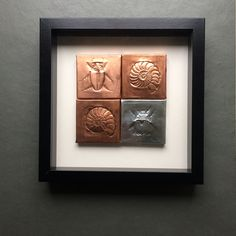Hand illustrated copper and tinned copper fossils framed. Tin Art, Hand Illustration, Fossils, Handmade Art, Handmade Gifts, How To Draw Hands, Copper, Emboss, Unique Jewelry