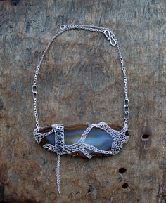 FUDZI Large Agate Slice Wrapped in Silver Wire Crocheted by Ksemi, $142.00