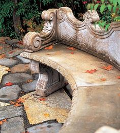 My dream garden would have a beautiful stone bench or two to admire the splendor of the seasons.