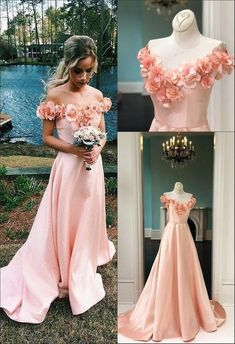 A-Line Off-the-Shoulder Sweep Train Pink Satin Sleeves Prom Dress With Flowers on Luulla Poofy Prom Dresses, Prom Dresses With Sleeves, Backless Prom Dresses, Flower Dresses, Satin Dresses, Homecoming Dresses, Dress With Flowers, Bridesmaid Dresses, Baby Pink Prom Dresses