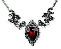 """- Red Stone Gothic Victorian Necklace - High Quality Pewter Metal - 2"""" X 4"""" inches on Split Chain - Comes on 24"""" Chain - Adult Fashion Jewelry Nothing else like it!"""