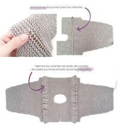 Vestido de punto y tela combinado de bebé – Tutorial y Patrón - Crochet Baby Jacket, Crochet Vest Pattern, Knitted Baby Cardigan, Baby Girl Crochet, Crochet Baby Booties, Baby Knitting Patterns, Knitting For Kids, Baby Patterns, Tricot Baby