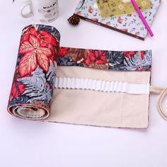Maple Leaf Canvas Wrap Roll up Pencil Pen Case Bag Storage Pouch Holder #Unbranded