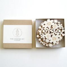 Flower Coasters Set of 4  White by decoylab on Etsy