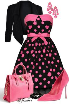 Stylish guru-a HOT date! Cute Dresses For Party, Dresses For Teens, Pretty Dresses, Party Dress, Pink Fashion, Fashion Dresses, Vintage Fashion, Womens Fashion, Rockabilly Mode