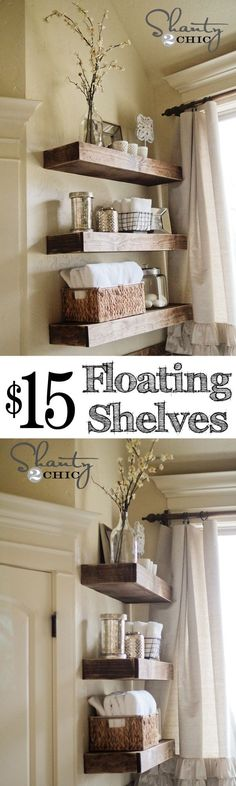 Super cute DIY Floating Shelves for my bathroom (also window treatment)