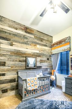 Tobacco Barn Grey Wood Wall for this brand new baby nursery. All nursery's should have a barn wood wall.
