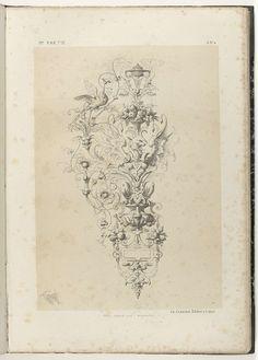 Michel Liénard   Ornament met gevleugeld fantasiedier, Michel Liénard, Charles Claesen, 1866   Linksboven pikt een vogel naar een bes. In de linkerhoek staat: 1re partie, rechtsboven: A. N° 6., rechtsonder: 14.