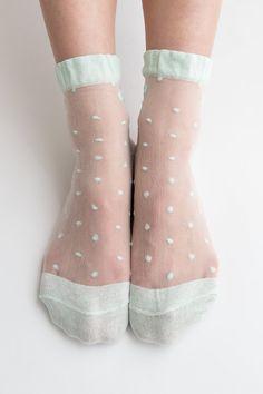Women New Hezwagarcia Hot Mint Color Ribbon Polka dot Sheer Nylon Adorable Ankle Socks Hosiery