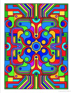 """Deco Tech Geometric Coloring Book, Dover Publications.  There is a blank coloring page of this on my other board """"Blank Coloring Pages."""""""
