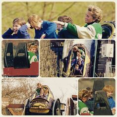 April 17, 1994: Princess Diana with Prince William, Prince Harry and school friends at Alton Towers Theme Park, Staffordshire, West Midlands.