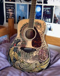 Acoustic Guitar art. Fantastic!!! Wish I trusted someone to do this to my Guitar!!