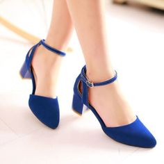 Hot Women'S Square Low Heels Pointed Toe Ankle Strap Party Shoes Sandals