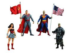 DC Elseworlds Red Son Action Figure Box Set. From the wildly successful SUPERMAN: RED SON! What would have happened if Superman's rocket had landed in the former Soviet Union instead of Smallville? The stars of SUPERMAN: RED SON are featured in this box set, which includes a never-before-produced version of Bizarro, and the 48-page Prestige Format comic SUPERMAN: RED SON #1. Packaged in a 4-color window box. - Red Son Bizarro - Red Son Batman - Red Son Superman - Red Son Wonder Woman...