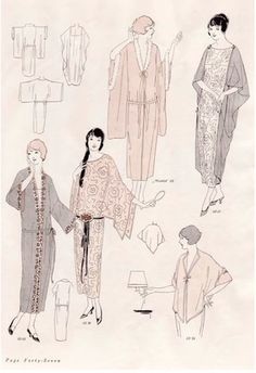 love the drape of these. Vintage Sewing Pattern Instructions 1920's Flapper Easy Neglige Robes Ebook PDF Depew 3004