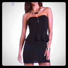 Black Strapless Dress With Peplum And Front Zipper