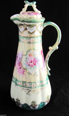 Nippon Hand Painted Roses, Chocolate Pot Unmarked