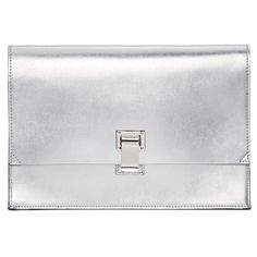 Proenza Schouler Silver Small Lunchbag Clutch ($850) ❤ liked on Polyvore featuring bags, handbags, clutches, proenza schouler purse, black purse, black structured handbag, black handbags and proenza schouler